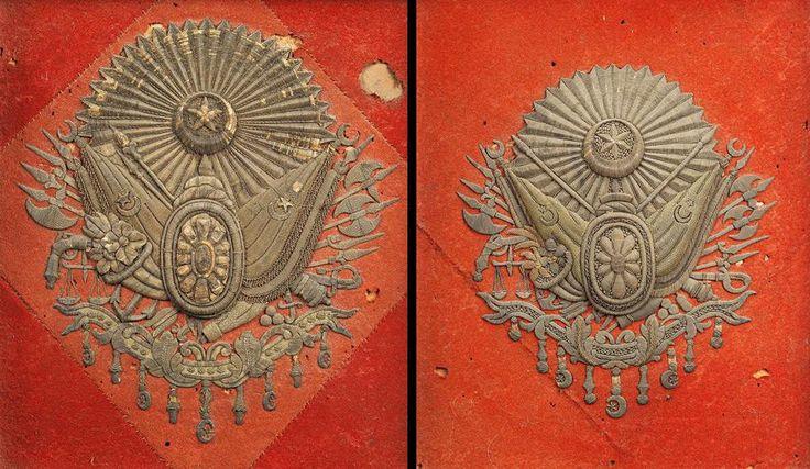 Osmanlı 19.yüzyıl Keçe Kumaş Üzeri Gümüş Tel Sarma İşçilikle 2 Adet Osmanlı Arma-i Humayun   par OTTOMAN IMPERIAL ARCHIVES