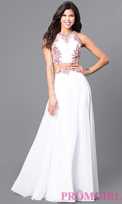 dc3cef77c098 Image of long two-piece lace-applique prom dress in off white. Style:  DQ-9911 Front Image