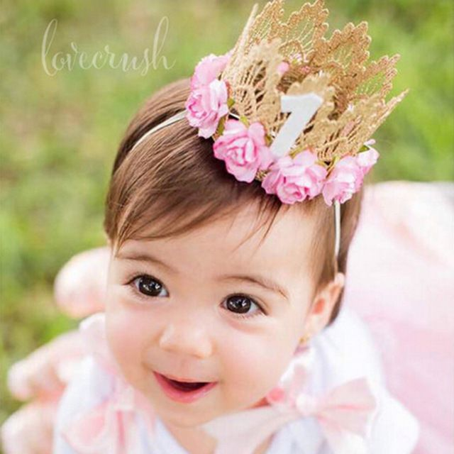 7 Colors Newborn Baby Birthday Crown Headband Flower Lace Gold Tiara Headband for Baby Girls Party Hiar Band Accessories Gifts