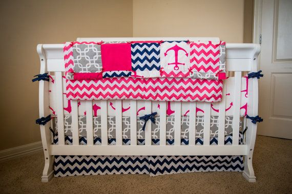 Navy and Pink Baby Bedding Crib Set Anchors Polka by SuiteBaby