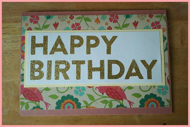 Handmade birthday card with birds and flowers pattern #handmadecards #birthdaycard