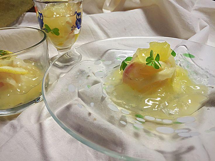 市販品のゼリーを使ってちょっぴり手抜きできちゃう「真鯛とセロリのマリネ 柑橘ジュレ」の作り方