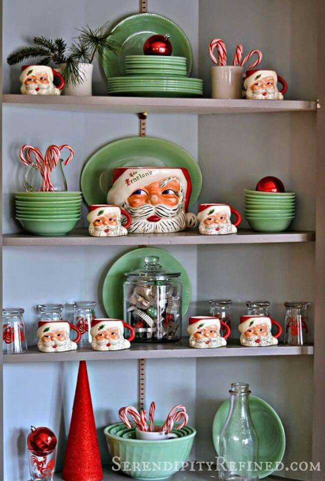 I need to add candy canes and red ornaments to my china cabinet display.