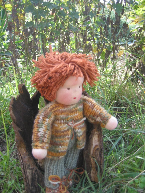 Waldorf type knitted Boy doll by FeltingZsuska on Etsy
