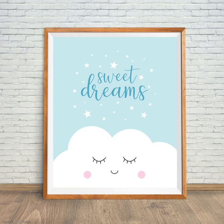 Sweet Dreams Printable, Blue Baby Art, Dreams Nursery Art, Sweet Dreams Nursery, Blue Nursery Print, Baby Shower Gift, Nursery Wall Art by CreativePrintsPlace on Etsy