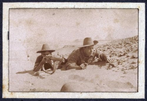 WWI; ANZACs. Two men of the 8th Australian Infantry Battalion undergoing scouting training near Mena Camp in Egypt. Left is 741 Sgt William Brett Cook from Leongatha, Victoria, a 32 year old musician prior to enlisting on 20 August 1914. On the right is Lt. Alan Crawford Couve from Dandenong, Victoria, a 20 year old chemist's apprentice prior to being appointed a 2nd Lt on 24 Aug 1914.