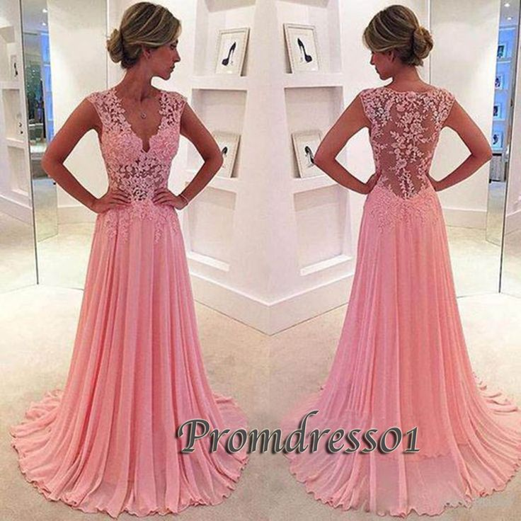 2016 beautiful v-neck pink lace chiffon long prom dress,ball gown, modest prom dress #coniefox #2016prom