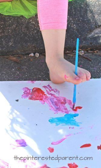 Painting with your toes. Fun process art for kids.