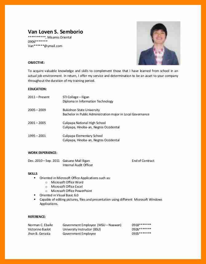 Applicant resume example