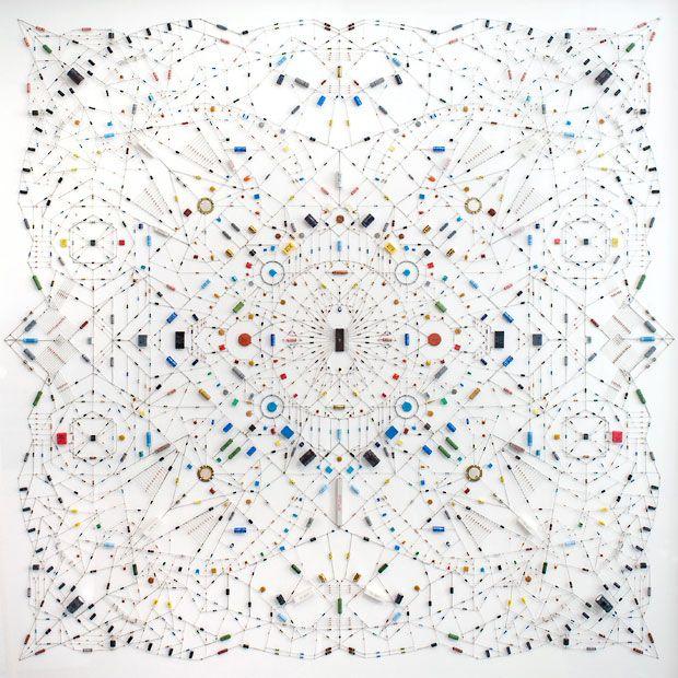 The Kinetica Art Fair 2013 at the Ambika P3 gallery in London. 'Technological Mandala' by Leonardo Ulian