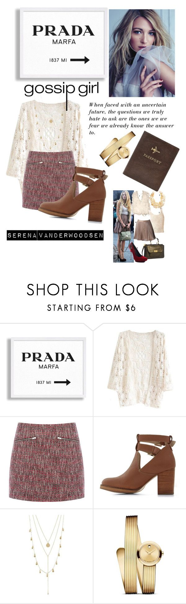 """Gossip Girl- Serena Vanderwoodsen"" by blair-waldorff ❤ liked on Polyvore featuring Prada, Warehouse, Seychelles, Charlotte Russe, Movado and FOSSIL"