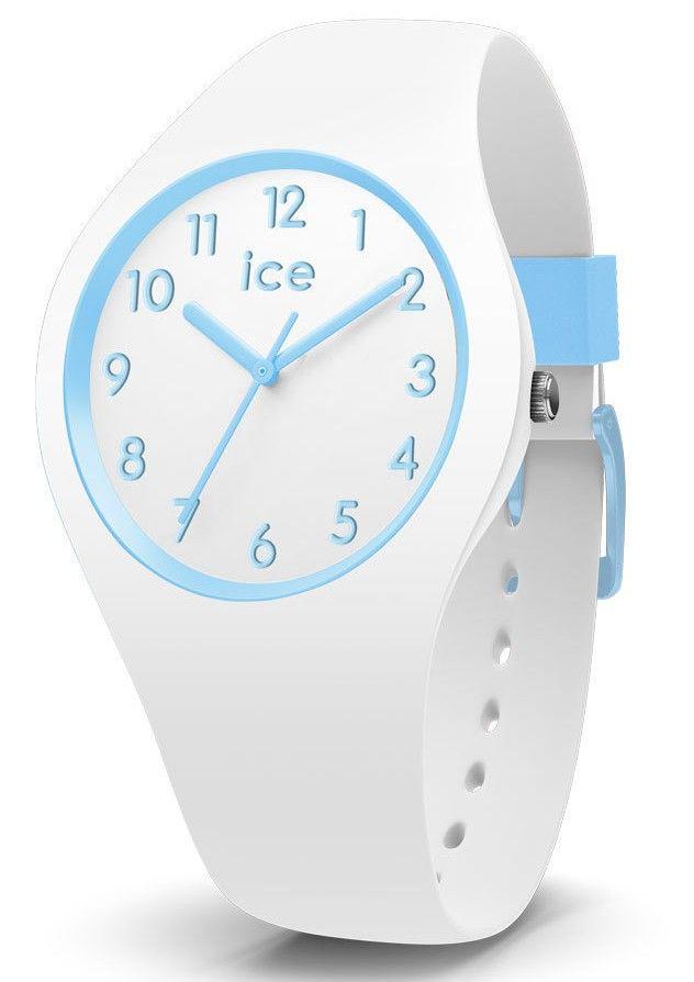 Ice-Watch kinderhorloge ICE Ola Cotton Small IW014425. De trendy Ice Watch ICE horloges zijn er nu ook in kidsversie. De kinderhorloges zijn vervaardigd uit siliconen en sluiten door middel van een gespsluiting. Dit model 'Cotton' is wit met lichtblauwe tinten. De witte horlogeband loopt door in de kast met witte wijzerplaat en lichtblauwe details, index en wijzers. De siliconen band is wit met lichtblauwe accenten.