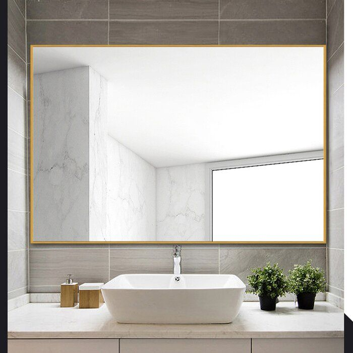 Eline Rectangular Thin Modern And Contemporary Bathroom Mirror In