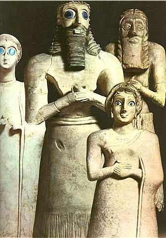 Blue-eyed Sumerian figurines--The Sumerians are the oldest civilizations know to man.