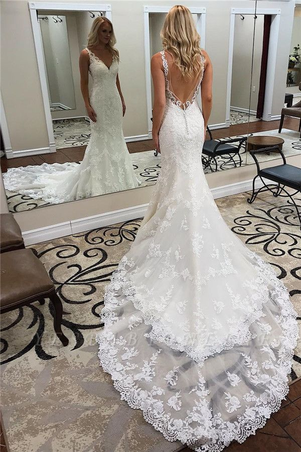 Glamorous Straps V Neck Backless Lace Mermaid Wedding Dresses Backless Mermaid Wedding Dresses Lace Wedding Dress Vintage Lace Mermaid Wedding Dress