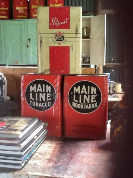 Vintage tins for sale  Die Smous (Red Shed) R44 between Stellenbosch and Somerset West at Klein Schuur opposite Mooiberge @ Timber Trad...118793187