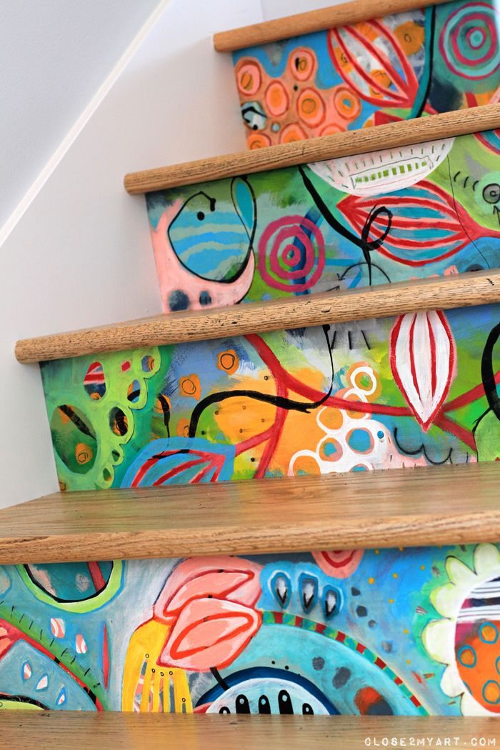 stairs-unique-handpainted-colorful-whimsical.jpg (700×1050)