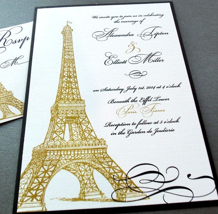 Eiffel Tower Paris Invitations - Weddings, Quinceañera Party, Special Event, Birthday - Gold and Black - SAMPLE ONLY by dearemma on Etsy
