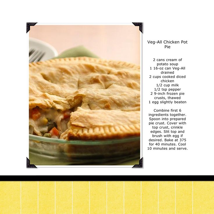 Veg-All Chicken Pot Pie. I've been making this since the '90's and got the recipe from a veg-all ad. It was just like this but also called for 1tsp. dried thyme. Really, really good! You can substitute leftover turkey, too or use a rotisserie chicken to make it easy. 10 minutes prep.