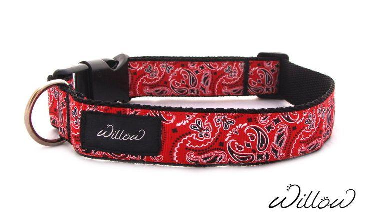 S M Red Bandana Dog Collar Designer Handmade Paisley Adjustable NEW Small Medium #Willow