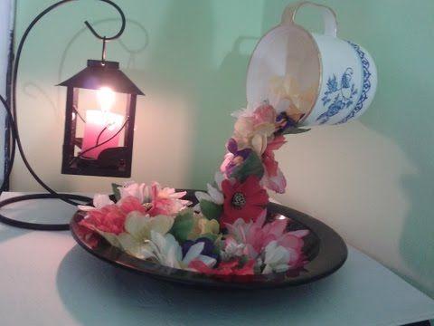 Centro de Mesa Copas con Flores Sumergidas y Velas ...