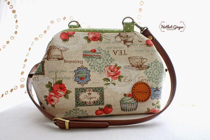 Hothot Ginger ♥ Handmade Craft 手作杂货: Green Tea Party Frame Sling Bag (Small)| 绿色茶会支架口金包 (小) SOLD