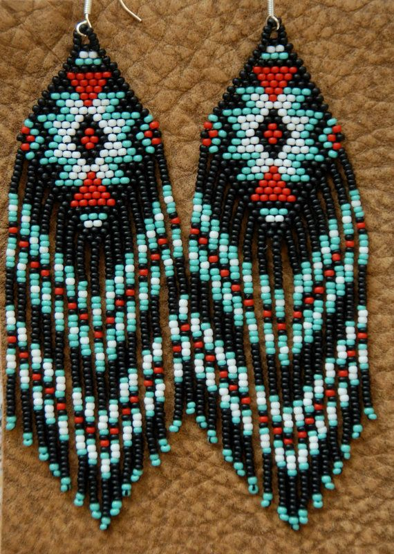 Long Beaded Fringe Earrings Native American by hoofandarrow