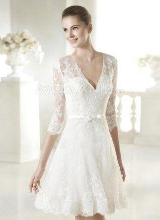 Robe de mariée civile 2015 col en V 3/4 manches ceinture pas cher