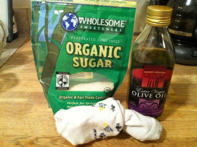 Sugar Foot Scrub or you can substitute coffee for sugar. Your feet will feel amazing. (I <3 EASY STUFF :))