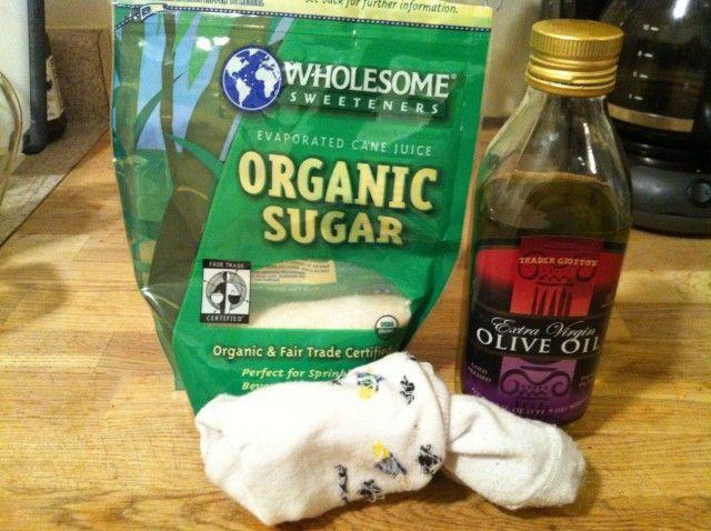 Sugar Foot Scrub or you can substitute coffee for sugar. Your feet will feel amazing. (I <3 EASY STUFF :))