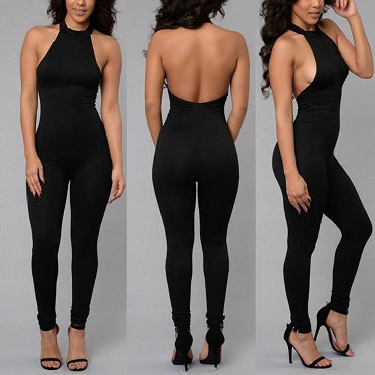 Women's Sexy Backless Clubwear Tight Jumpsuit Sleeveless Rompers Black Bandage Playsuit Full Pants