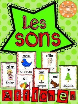 Les sons - 37 affiches: eau, au, en, an, em, am, on, om, ou, oi, ch, un, et, er, ez, ill, gn, ph, ei, ai, eu, s=z, oeu, oin, tion, eil, eille, ouill, euil, euille, in, im, ain, aim, ain, ail, aille.