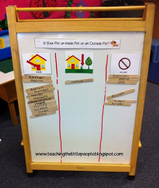 graphing for preschool pets theme - do you have a pet / what kind of pet / inside, outside or no pet