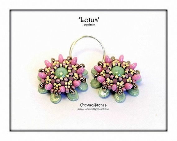 *P Bead pattern Lotus earrings with Pip beads and by CrownofStones