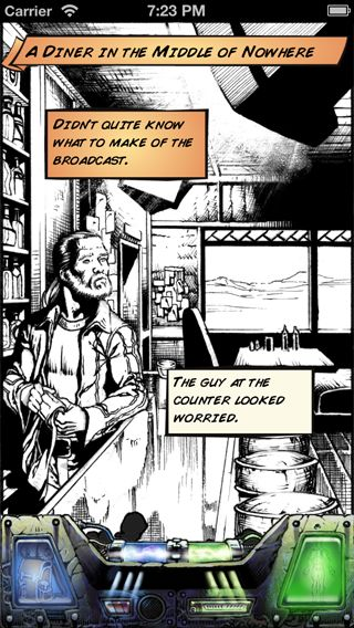 Comic art from the game. The guy at the counter looked worried.