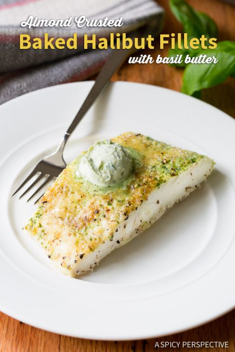 Almond Crusted Baked Halibut w/ Basil Butter
