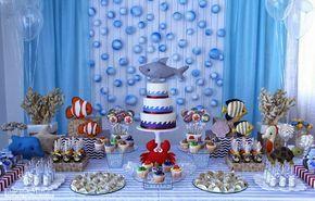 Olha esta fofura de Festa Fundo do Mar!!Apaixonada por esta linda decoração.Imagens do Facebook Fabiana Moura Projetos Personalizados.Lindas ideias e muita inspiração.Uma semana maravilhosa par...