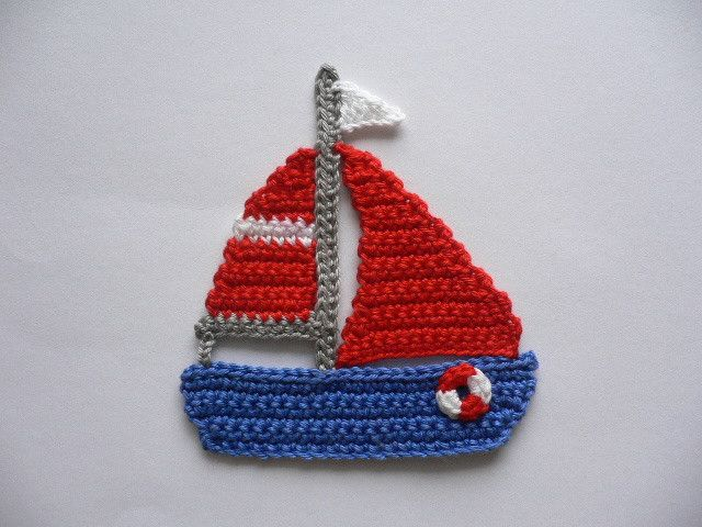 Segelboot+-+Häkelapplikation+von+Spielkiste+auf+DaWanda.com