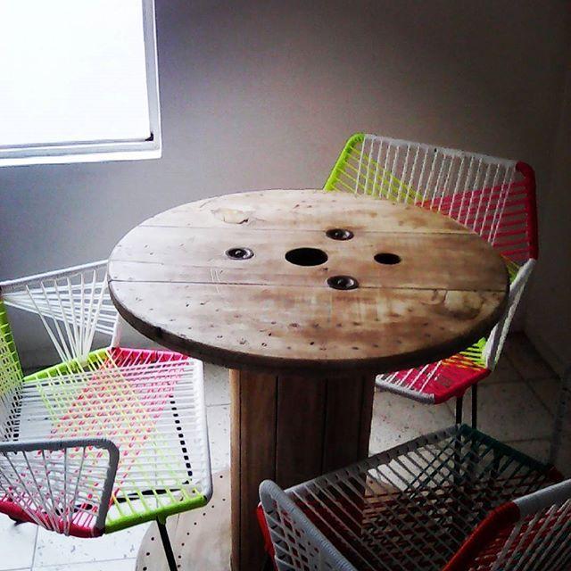 l Mesa de Carrete de cable #reciclado l  #bobina #repurposed #woodencablereel