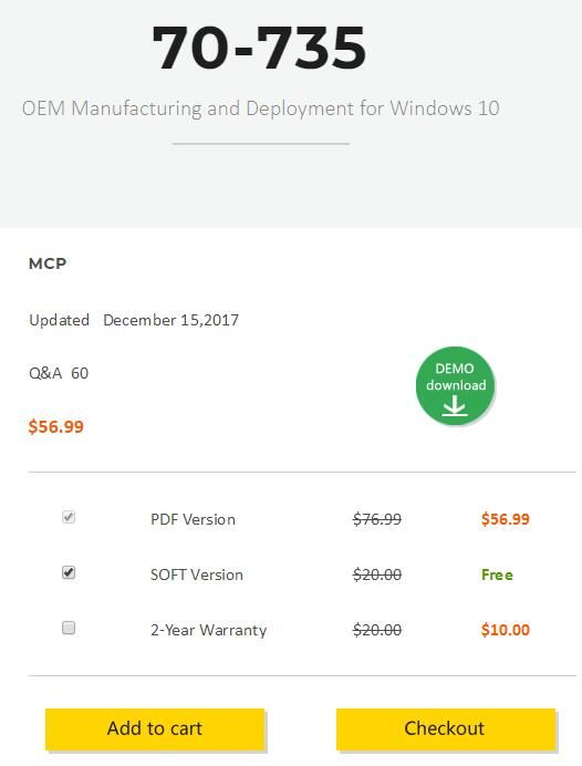 CertQueen offer real Microsoft MCP 70-735 dumps to ensure you 100% pass OEM Manufacturing and Deployment for Windows 10.