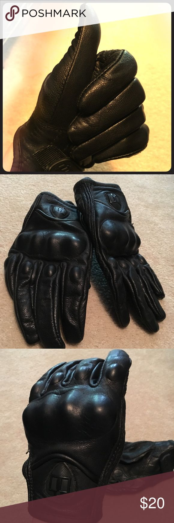 Tight leather motorcycle gloves Tight leather motorcycle gloves. Like new. Only worn a few times. Very clean and well cared for. ICON Accessories Gloves & Mittens