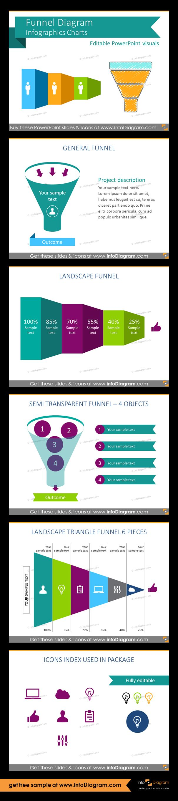 Predesigned Infographics shapes for showing various funnel processes on a slide. Suitable especially for marketing, sales and business development presentations. General project management funnel, landscape funnel, semi transparent funnel for 4 objects, landscape triangle horizontal sales funnel, set of flat icon symbols for infographics: cloud, computer, bulb, thumbs up, man, document.