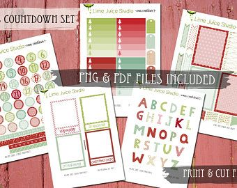 Christmas Countdown-Printable Stickers-Digital Download-Christmas Stickers-Word Stickers-Project Life-Scrapbooking-Print & Cut-PNG/SVG files