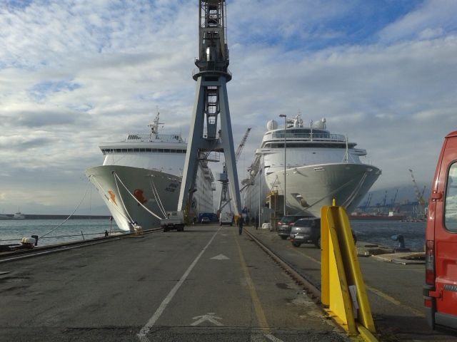 Holiday (at the left, a carnival cruise ship) & Neo Classica ( Costa Cruise ship)