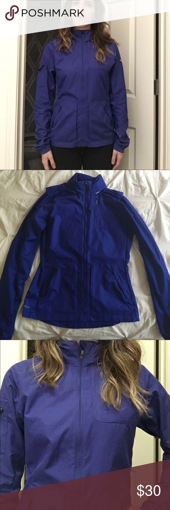 """Nike waterproof jacket Royal blue full zip Nike running jacket """"storm fit"""". It has a hood that can be hidden in the collar of the jacket. Nike Other"""