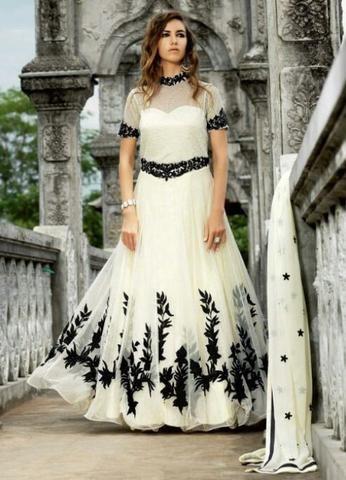 White Elegant Salwar Kameez ,Indian Dresses - 1