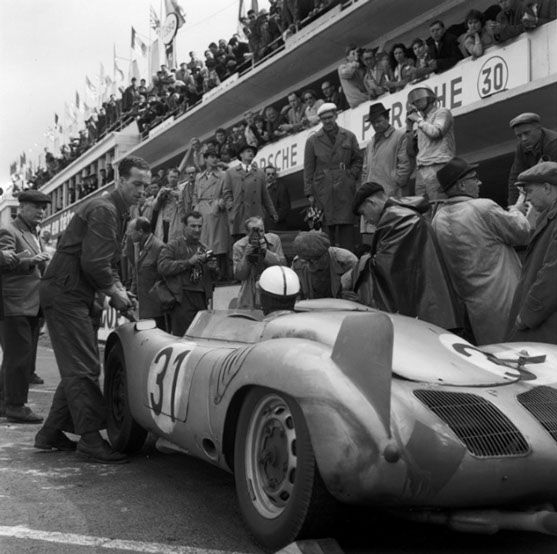 Ferry Porsche with Paul Frere, 24 hours of Le Mans, France, 1958