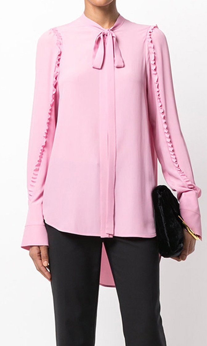 Prim And Polished Pink Long Sleeve Chiffon Ruffle Trim Bow Neck High Low Blouse