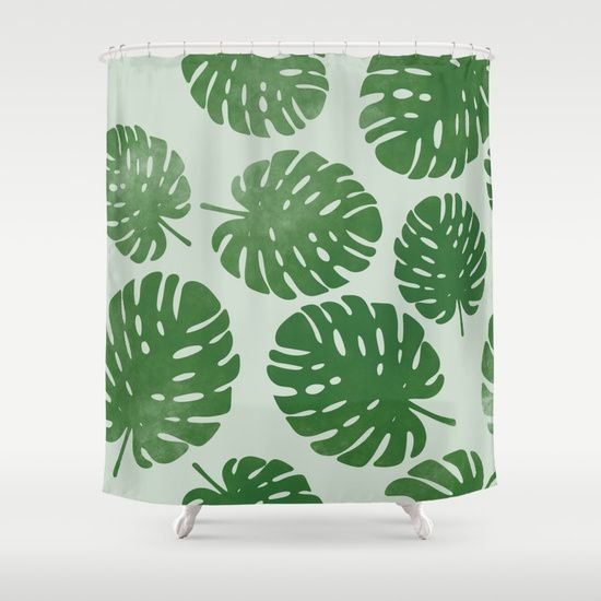 BigMomentsDesign Palm Leaves on Light Green shower curtain