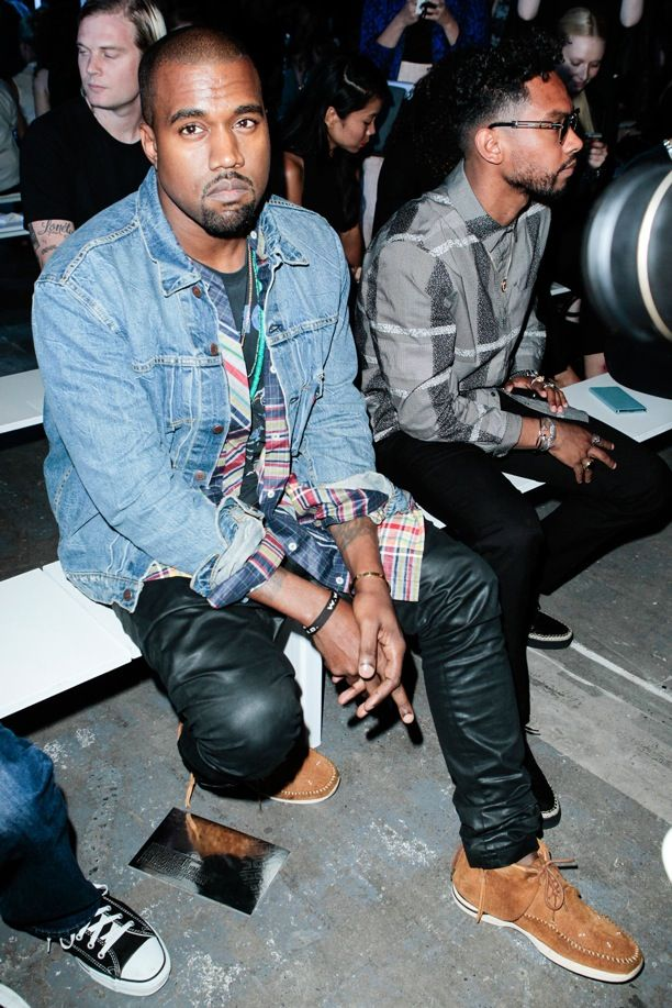 NYFW FRONT ROW ALEXANDER WANG SS 2014 NEW YORK FASHION WEEK KANYE WEST JEAN JACKET PLAID SHIRT TEE TSHIRT LEATHER PANTS MOCCASIN SNEAKER